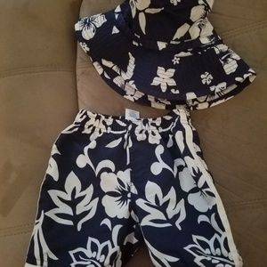 Old Navy Baby Boys floral bathing suit and hat